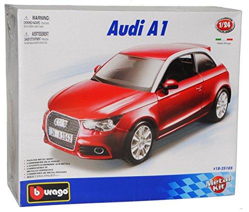 Bburago Audi A1 Rot 3 Türer Ab 2010 8X Bausatz Kit 1/24 Modell Auto mit individiuellem Wunschkennzeichen
