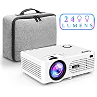 QKK Beamer, Mini Beamer mit tragbarer Tasche, Videobeamer 2400 Lumens, unterstützt 1080P Full HD, Kompatibel mit Fire TV Stick, PS4, Xbox, Chromecast, HDMI, VGA, SD, USB, Heimkino Beamer, Weiß.