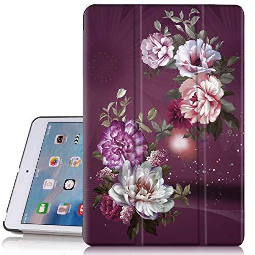 iPad Mini 2Hülle, iPad Mini 3Fall, hocase Blumen Design PU Leder Folio Smart Fall w/Unikat, Auto Sleep/Wake-Funktion, Mikrofaser Futter Hartschale für iPad Mini 1/2/3, weiß