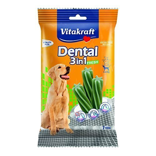 Vitakraft Dental 3in1 Fresh - Zahnpflege-Snack für Hunde ab 10 kg - 12x 7 Sticks