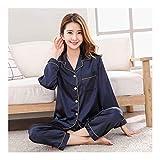 HAOLIEQUAN Herbst Frühling Frauen Damen Satin Silk Pyjamas Sets Langarmshirts + Hosen Nachtwäsche Mujer Nachtwäsche Pyjama Femme Unterwäsche, M