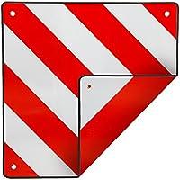 ECD Germany Panneau de signalisation arrière reflechissant rouge et blanc 50x50 cm pour l'Espagne et l'Italie Signalisation porte velo
