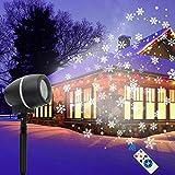 LED Projektor, Fenvella Schneeflocken Projektor Lampe mit Timing Fernbedienung Schneefall 3 Modi Wasserdicht IP65, Weihnachtsprojektor Licht für Innen Außen Garten Weihnachten Party Hochzeit