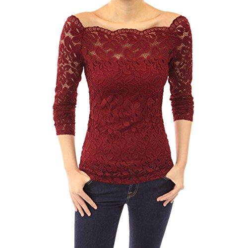 Vertvie Femme Slim Fit Shirt Dentelle Floral Épaule Nue Tops Haut Blouse à Manches Longues Rouge