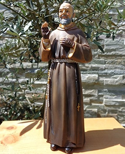 XXL ÖLBAUM - Heiligenfigur Pater Pio / Padre Pio, mit Mönchskutte braun, mit Rosenkranz / Kreuz und den typischen fingerlosen Lederhandschuhen, die seine Wundmale / Stigmata bedecken - sehr standfest, ohne Sockel - alle ÖLBAUM HEILIGEN- und Krippenfiguren zeichnen sich durch extrem sauber gearbeitete und präzise Gesichtszüge der Figuren aus, coloriertes Holzfiguren- bzw. Echtholzimitat, standfest und liebevoll handbemalt