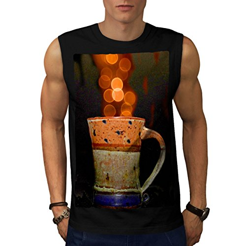 stylish-cup-of-tea-color-bubbles-men-new-black-s-sleeveless-t-shirt-wellcoda