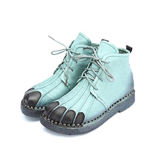 Vogstyle Femmes Main en Cuir Véritable Mère Chaussures Style-1 Vert