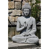 Stone-Lite Figura de Buda Sentado con Gesto de la Mano - para casa y jardín - Altura 73 cm - Gris Oscuro