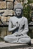Stone-Lite Figura de Buda Sentado con Gesto de la Mano - para casa y jardín - Altura 73...