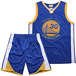 Warriors Curry 30th Jerseys Bordado Real Traje De Baloncesto De Verano Conjunto De Dos Piezas