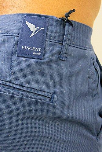 Vincent Trade - Pantalone Uomo, Pantalone tasca america e tasche a filetto sul retro vestibilità slim Bluette