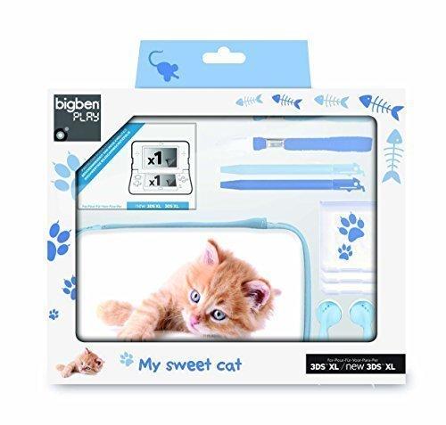 """bigben Nintendo 3DS XL - Zubehör-Set """"Baby Animals XL"""" Kätzchen blau"""