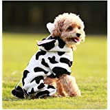 Mascota Perro Disfraz de vaca para suave y cálida Mono mascota pijama ropa