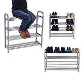 Schuhregal Ausziehbar mit 4 Ablagen, Schuhständer Schuhablage für 12-20 Paar Schuhe Regal für Schuhe Beliebig Erweiterbar