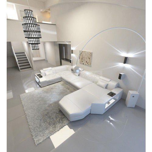 Intérieur de la maison Presto forme U Blanc Cuir Canapé d'angle ital. Design