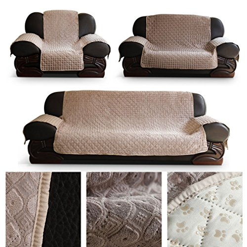 HDM anti-dérapant 2 places housse de canapé 171x256.5 cm en housse de coussin beige Soft Touch housse de canapé housse de canapé Canapé enfant en 100% vide - coton