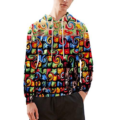 serliyHerren Slim Fit 3D Druck Hoodie Kapuzenpullover Langarm Sweatshirt Kapuzenjacke Mit TaschenWeihnachten Winter Bunt mit Tasche -