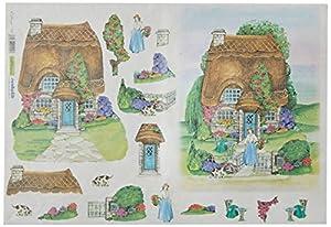Renkalik renkalikqsipr13935x 50cm Cottage Seda impresión Hoja de Papel (Juego de)
