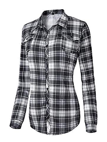 Urban GoCo Femme Chemise Manche Longue à Carreaux Ecossais Casual Col Boutonné Shirt Chemisier Tops #5 M