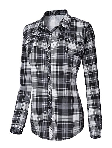 Damen Karierte Blusen Langarmhemd Karierte Bluse Plaid Shirt (L, #5)