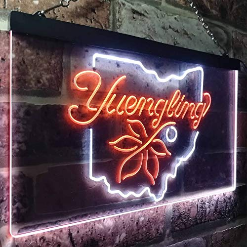 zusme Yuengling Ohio State Buckeye Larger Beer Novelty LED Neon Sign White + Orange W40cm x H30cm - Ohio State Buckeyes Led