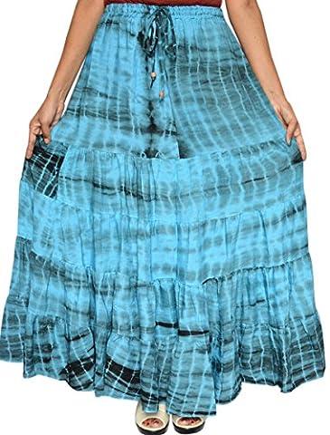 Womens Long Rayonne Tie Dye Jupe Maxi Inde Vêtements (Bleu)