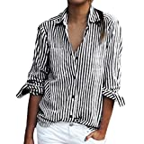 OverDose Damen Casual Gestreift Hemd Frauen Fashon Striped Langarm lose Bluse T-Shirt Tops Oberteile