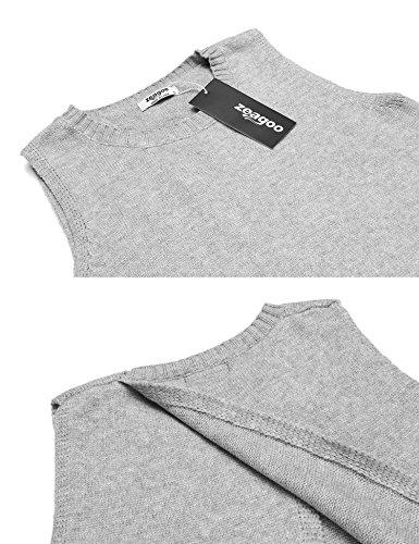 Zeagoo Damen Ärmelloser Pullover Armlos Oberteil Herbst Shirt Winter Pullunder Strickpulli in 3 Farbe Grau