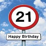 Twizler 21st Tarjeta de cumpleaños–Roadsign–21años de edad–edad 21Tarjeta de cumpleaños