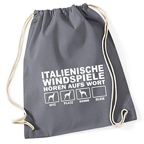 Siviwonder Turnbeutel - ITALIENISCHES WINDSPIEL Italien Italian Greyhound Windhund - HÖREN AUFS WORT Baumwoll Tasche Beutel grau