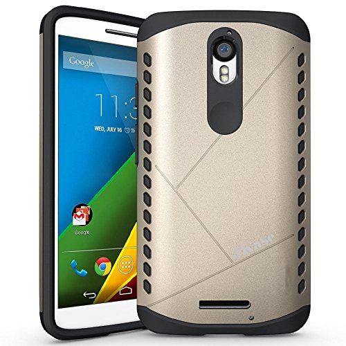 Motorola Droid Turbo 2 Hülle, JKase CANVAS Dual Layer Rüstung Case Hülle TPU Innencase für Motorola Droid Turbo 2 (Gold)