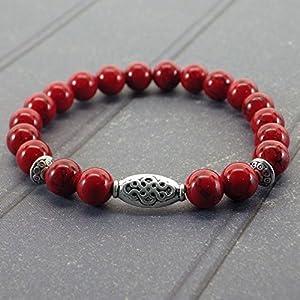 Zen ethnischen Thurcolas Armband mit roten Türkis Perlen und tibetischen versilbert Perlen