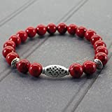 Bracelet pour femme Thurcolas ethnique Zen avec perles en Turquoise rouge composée et perles tibétaines en métal argenté