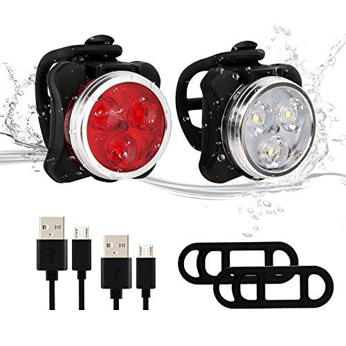 Yiiyaa Fahrradlichter Set, LED Fahrradlampe Fahrradbeleuchtung, Fahrrad Rücklicht Fahrradlicht Hinten, Fahrradlampe Vorne mit USB Wiederaufladbar 2 Stück