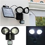 IPUIS 22 LED Lampe Solaire Exterieur Détecteur de Mouvement Lampe de Jardin Fonctionnant à l'Energie Solaire / Eclairage de Sécurité à Double Tête Projecteur à Induction pour Pelouse, Escalier, Paysage, Allée, Chemin, Terrain, Allé, Dehors Mur etc