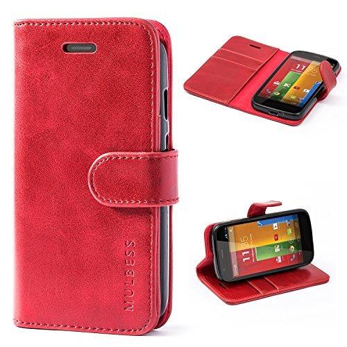 Mulbess Handyhülle für Moto G Hülle, Leder Flip Case Schutzhülle für Motorola Moto G Tasche, Wein Rot