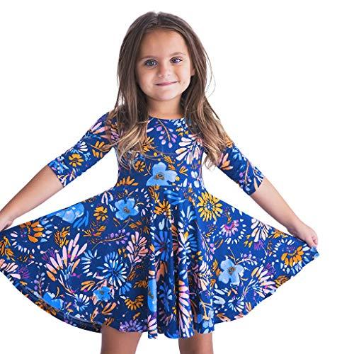 ama & Me Baby Mädchen halbe Hülse Blumendruck Kleid Familie Outfits Kleidung Eltern-Kind-Kleidung ()