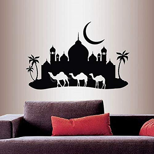zhuzhuwen Großes Wandbild Wall Stickerskindergarten Raumdekoration Wandbild Vinyl Arabian Night Camel Caravan Moschee Palace Skyline Moon 42X62Cm