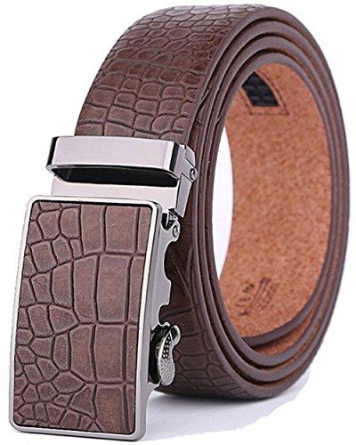 Xhtang-Ledergürtel Herren Automatik Gürtel mit Automatikschließe-3,5cm Breite M - Braun - Länge 125cm (Geeignet für 37-43 taille) (Herren-leder-gürtel 38)