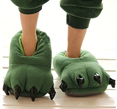 Thicken Green Dinosaur Claws Novelty Slippers for Men Women Warm Winter Slippers Ideal Christmas Gifts (Medium)