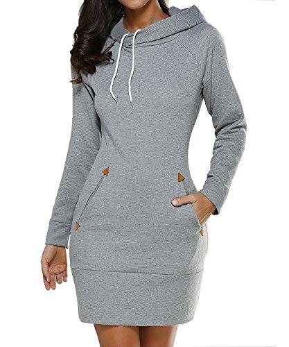 DEMO Damenmode Pullover Hoodie mit Reißverschluss Langarm Pullover Jumper Sweatshirt Kleid mit Tasche (Hellgrau, EU 42-44/Etikettengröße L) (Sport Teen Girl)