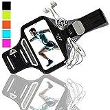 K-ZAR Universel Brassard Sport Anti-Sueur, Brassard iPhone 7/8 Plus 6/6s/5/5C/5S, Samsung Galaxy S7/S6/S5, Jusqu'à 5.5″ - Brassard téléphone Respirant, Ajustable, Réfléchissant, avec portes Clés/ Papiers /Argent et Attache Câble pour Jogging / Gym / Running (Noir)