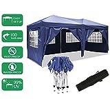 Pavillon 3mx6m, Tente de pavillon Pliable imperméable à l'eau, Tente de pavillon Pliante avec 4 côtés pour Jardin/fête/Mariage/Pique-Nique/marché (Bleu)