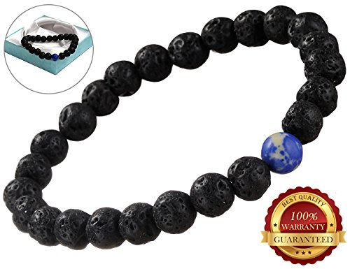 BisLinks® Chakra Heilung Beaded Armband Herren & Damen Natural Black Lava Stone Diffuser Mala Meditation Religious Stretchable Armband Intern Protection Energy Heilung Aroma Therapy Blue Edelstein - Ersatz-lava Rock