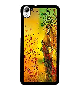 PrintDhaba Leaf Girl D-2409 Back Case Cover for HTC DESIRE 826 (Multi-Coloured)