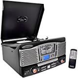 Updated Version Pyle Retro Turntable, Built-in Speakers, Wireless Record Player, Record Player Convert Vinyl To Mp3, CD/Radio/USB/SD/MP3/WMA, 2 Speed Turntable: 33, 45, RPM (Black)