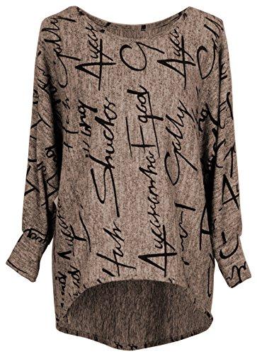 Emma & Giovanni - Pullover / Sweatshirt Oversize- Damen (S/M, Braun)
