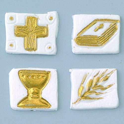 """efco """"Heilige Kommunion Wachs Dekoration in 4Teile, weiß/Gold, 20x 20mm"""
