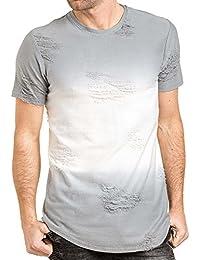 Gov Denim - Tee-shirt homme blanc et gris destroy oversize