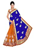 Winza Designer Georgette Saree with Blouse Piece (Red zone_Blue_Free)